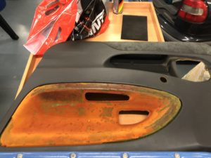 Door panel with orange gunk